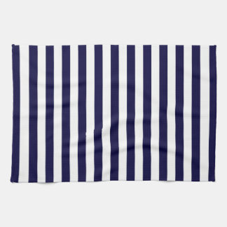 Classic Navy Blue and White Stripe Pattern Hand Towel