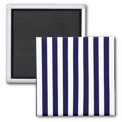 Classic Navy Blue and White Stripe Pattern Fridge Magnets