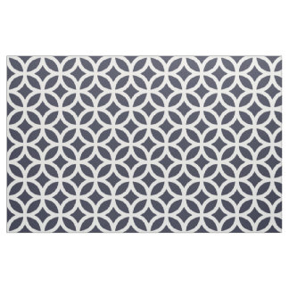 Classic Navy Blue Geometric Pattern Fabric