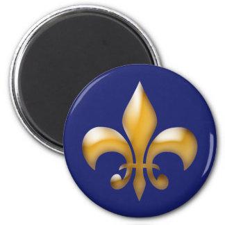 Classic Navy Blue Gold Fleur de Lis Magnet