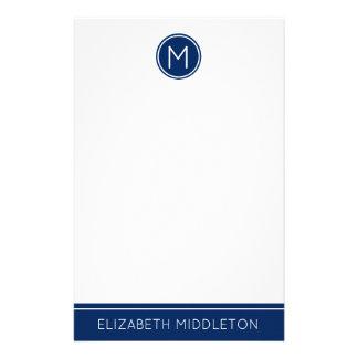 Classic Navy Blue Monogram on White Stationery