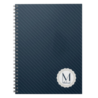 Classic Navy Blue Pin-striped - Custom Monogram Notebook