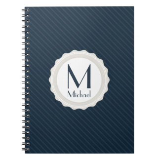 Classic Navy Blue Pin-striped - Custom Monogram Notebook