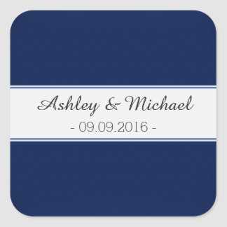 Classic Navy Blue Save the Date Square Sticker
