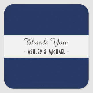 Classic Navy Blue Thank You Square Sticker