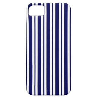 Classic Navy Blue White Uneven Stripe Pattern #2 iPhone 5 Case