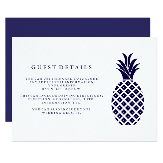 Classic Navy Pineapple Wedding Guest Details Card