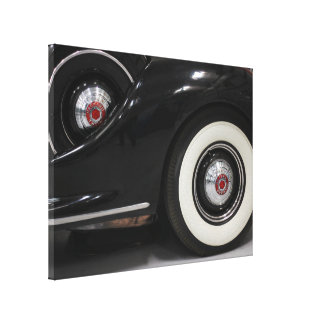 Classic old black car wrapped canvas gallery wrapped canvas