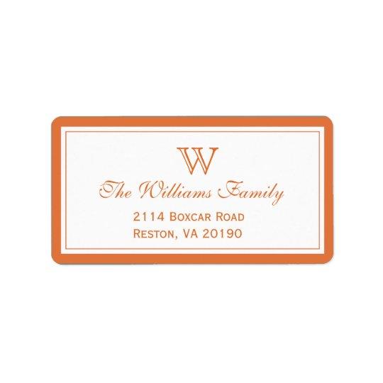 Classic Orange Address Label
