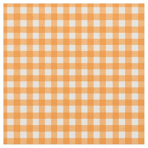 Classic Orange Gingham Checked Pattern Fabric