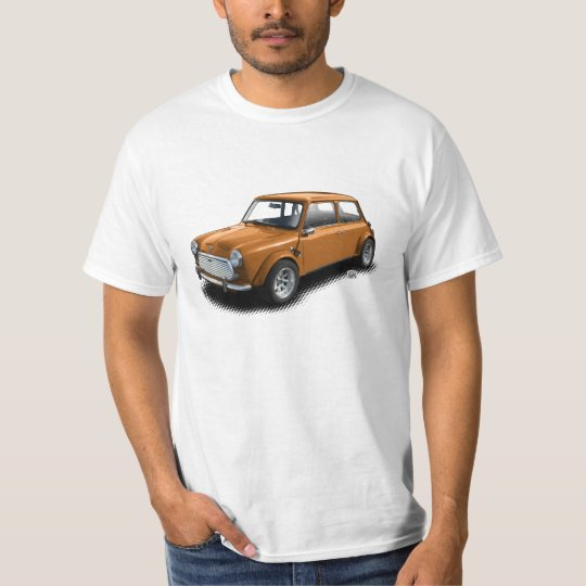Classic Orange Mini Car on White T-Shirt