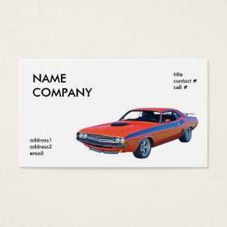classic orange muscle car business card