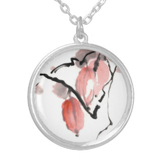 Classic oriental chinese sumi-e ink fruits paint round pendant necklace