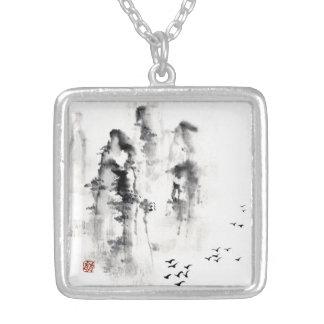 Classic oriental chinese sumi-e ink mountain scene square pendant necklace