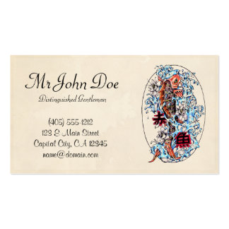Classic oriental japanese koi carp ink tattoo pack of standard business cards