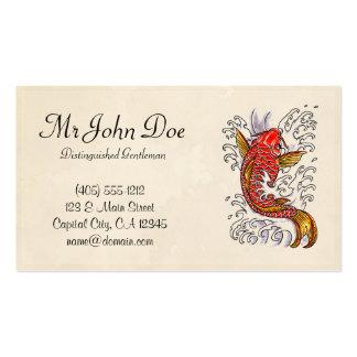 Classic oriental japanese koi karp fish tattoo pack of standard business cards