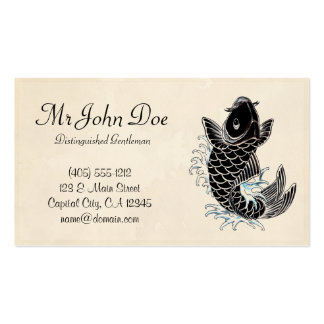 Classic oriental japanese koi karp fish  tattoo pack of standard business cards