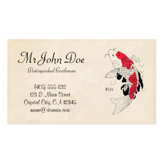 Classic oriental japanese red koi fish tattoo pack of standard business cards
