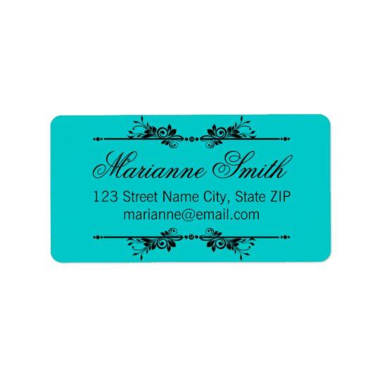 Classic Ornate Black Flourish in Teal Address Label