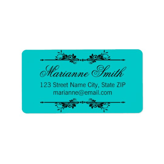 Classic Ornate Black Flourish in Teal Label