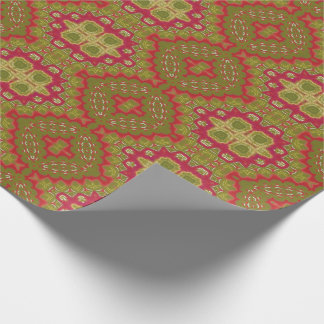 Classic Ornate Gold Red Magenta Green Christmas Wrapping Paper