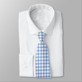 Classic Pastel Blue Gingham Check Pattern Tie