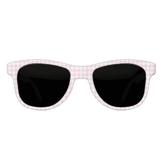 Classic Pastel Pink Gingham Check Pattern Sunglasses
