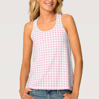 Classic Pastel Pink Gingham Check Pattern Tank Top