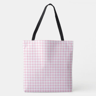 Classic Pastel Pink Gingham Check Pattern Tote Bag