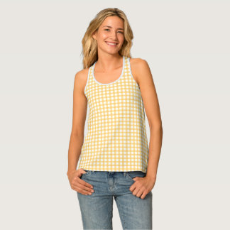 Classic Pastel Yellow Gingham Check Pattern Tank Top