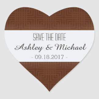 Classic Pattern -Chocolate- Save the Date Heart Sticker