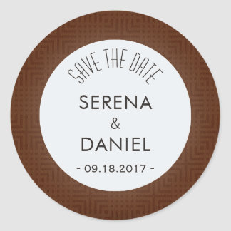 Classic Pattern -Chocolate- Save the Date Round Sticker