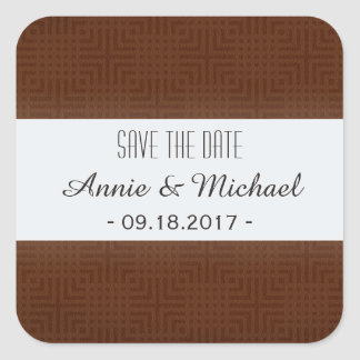 Classic Pattern -Chocolate- Save the Date Square Sticker