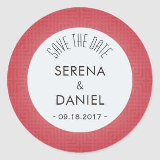 Classic Pattern -Crimson Red- Save the Date Round Sticker