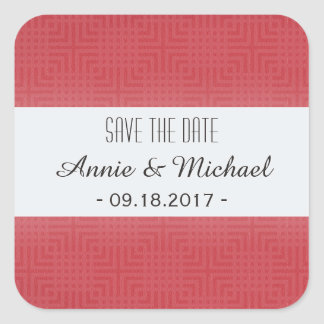 Classic Pattern -Crimson Red- Save the Date Square Sticker