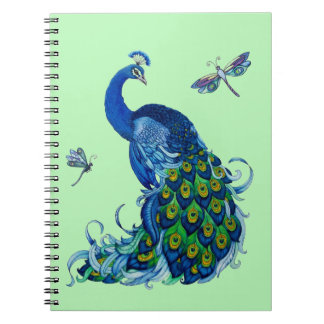 Classic Peacock and Dragonfly Design Spiral Notebook