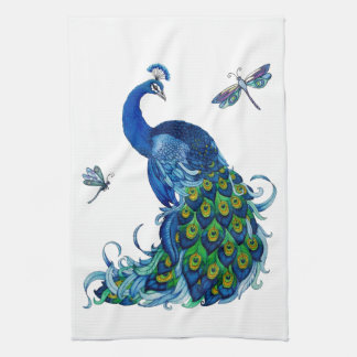 Classic Peacock and Dragonfly Design Tea Towel
