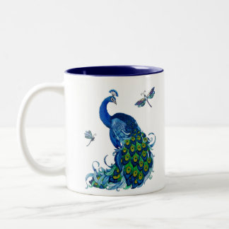 Classic Peacock and Dragonfly Design Two-Tone Coffee Mug