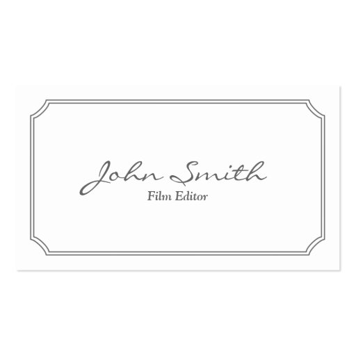 Classic Pearl White Film Editor Business Card