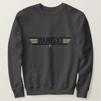 Classic Personalized Top Gun Wings Your Text Embroidered Sweatshirts
