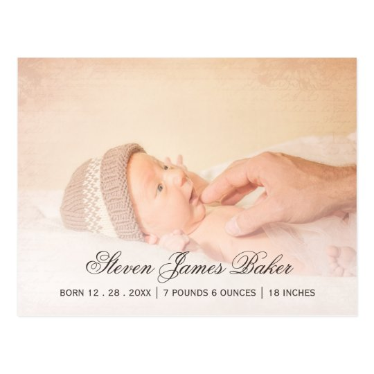 Classic Photo Newborn Baby Hand of Father Postcard