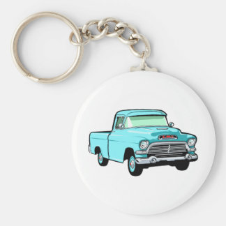 Classic Pickup Truck Basic Round Button Key Ring