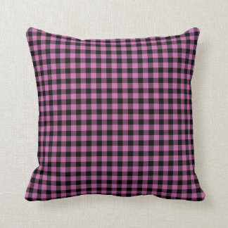 Classic Pink and Black Gingham checked Cushion