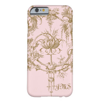 Classic Pink and Brown Toile Pattern Barely There iPhone 6 Case