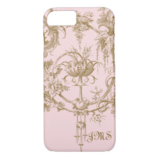 Classic Pink and Brown Toile Pattern iPhone 7 Case