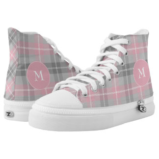 classic pink and gray plaid printed shoes