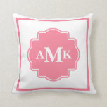 Classic Pink and White Monogram Pillow