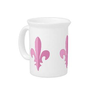 Classic Pink Fleur de lis Pitcher