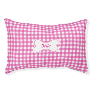 Classic Pink Gingham Pet Bed