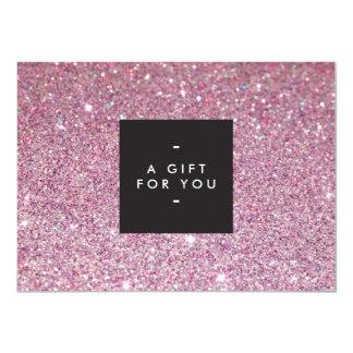Classic Pink Glitter Salon Gift Certificate 11 Cm X 16 Cm Invitation Card